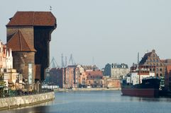 Old town Gdansk/Poland. The Old Crane under the Motlava Canal - old town Gdansk/Poland/Central Europe Stock Image