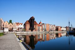 Old Town of Gdansk in Poland. Historical city center skyline with reflection in Motlawa river Stock Images