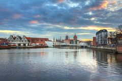 Old town of Gdansk, Poland. Old town of Gdansk reflected in Motlawa river at sunset, Poland Stock Images