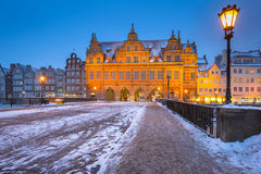 Old town of Gdansk, Poland. Old town of Gdansk in snowy winter, Poland stock photo