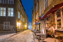 Old town of Gdansk, Poland. Old town of Gdansk in snowy winter, Poland stock photography