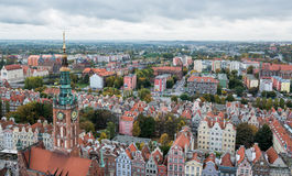 Old Town in Gdansk. Gdansk, Poland - 17th October 2014: Aerial view from Basilica of the Assumption of the Blessed Virgin Mary known as St. Mary's Church on Old Royalty Free Stock Photo