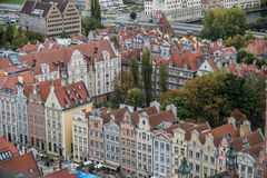 Old Town in Gdansk. Gdansk, Poland - 17th October 2014: Aerial view from Basilica of the Assumption of the Blessed Virgin Mary known as St. Mary's Church on Old Stock Photo