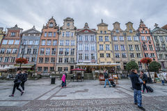 Old Town in Gdansk. Gdansk, Poland - 17th October 2014: Tourists walks on Dlugi Targ Street  Long Market) on Old Town in Gdansk Royalty Free Stock Photo