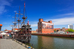 Old town of Gdansk with reflection in Motlawa river. GDANSK, POLAND - MAY 11, 2015: Old town of Gdansk with reflection in Motlawa river. Gdansk is the historical Royalty Free Stock Photos