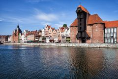 Old Town of Gdansk River View. In Poland, city skyline with The Crane Royalty Free Stock Images