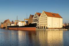 The old Town Gdansk. Sunset in old town of Gdansk at Motlawa river, Poland Royalty Free Stock Image