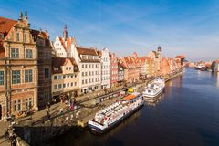 Old town of Gdansk, top view Stock Photo