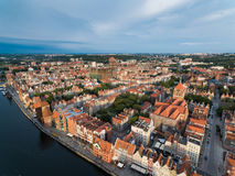 Old town of Gdansk, top view. Sunrise over old town of Gdansk, top view Stock Photo