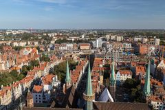 Old Town in Gdansk viewed from above. Old buildings and St. Mary`s Church`s towers at the Main Town Old Town in Gdansk, Poland, viewed from above on a sunny day Royalty Free Stock Photography