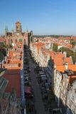 Old Town in Gdansk viewed from above. Old residential buildings, Mariacka Street and St. Mary`s Church at the Main Town Old Town in Gdansk, Poland, viewed from Stock Image