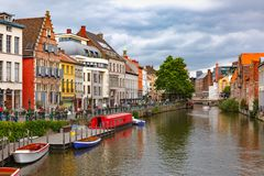 Old town of Ghent, Belgium. Nice view of picturesque medieval houses on the quay of Leie river, Old Town of Ghent, Belgium stock image