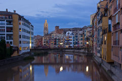 Old town of Girona at night, Spain Stock Image