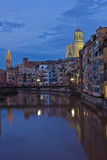 Old town of Girona at night, Spain Royalty Free Stock Photography