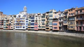 Old town of Girona stock footage