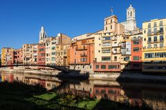 Old Town of Girona Waterfront Houses. City of Girona Old Town skyline in Catalonia, Spain, Old Quarter Barri Vell historic houses at Onyar River royalty free stock image