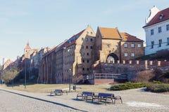 Old town of Grudziadz and frozen Vistula River. Grudziadz, Kuyavian-Pomeranian Voivodeship, Poland Royalty Free Stock Images