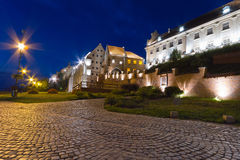 Old town of Grudziadz at night Stock Images