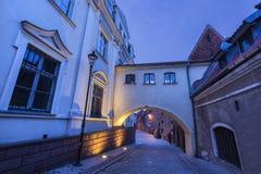 Old town of Grudziadz at night. Grudziadz, Kuyavian-Pomeranian Voivodeship, Poland Royalty Free Stock Image