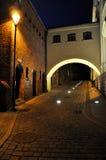 Old town of Grudziadz, Poland. Old town street scenery with arch in Grudziadz, Poland. Photo shoot by night Stock Photo