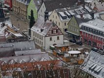 Old town hall of Pegnitz. View from observation tower royalty free stock photography