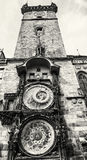 Old town hall with astronomical clock in Prague, black and white Royalty Free Stock Photo