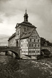 Old Town Hall Bamberg. Black and white picture of the Old Town Hall in Bamberg, Germany. Known to locals as Bamberg Altes Rathaus stock photo