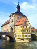 Old Town Hall in Bamberg with both bridges over the river Regnitz Stock Images