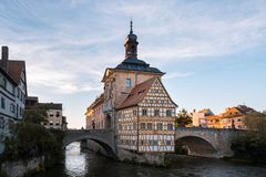 The Old Town Hall of Bamberg, Germany, at sunset. Big Panorama. royalty free stock photo