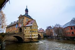 Old town hall in Bamberg while it snows, Germany Stock Image