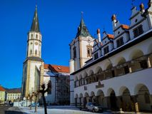 Old Town Hall, Bell Tower and church in Levoca Royalty Free Stock Image