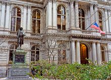 Old Town Hall with Benjamin Franklin Statue at downtown Boston Stock Photo
