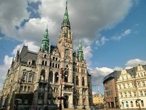 Old town hall building in Liberec in Czech Republic. Ancient rich decorated city hall house built in eclectic neogothic historic style in Liberec, Czech Republic royalty free stock photography