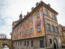 The Old Town Hall, called Altes Rathaus in German in Bamberg. Bamberg, Bavaria, Germany - February 28 2009: The baroque facade of the Old Town Hall of Bamberg in royalty free stock photos