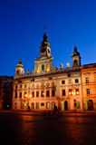 Old town hall of Ceske Budejovice at night Royalty Free Stock Image