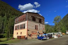 Old Town Hall and Fire Hall at Sandon Ghost Town, British Columbia stock photo