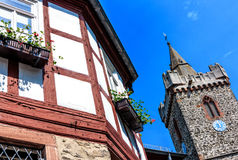 Old Town Hall and the Jakobuskirche in Bruchkoebel, Germany Stock Image