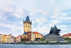 The Old Town Hall and the Jan Hus Memorial in Prague.  stock image