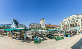 Old Town Hall in Leipzig with people at marketplace Royalty Free Stock Images