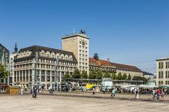 Old Town Hall in Leipzig with people at marketplace Stock Photo