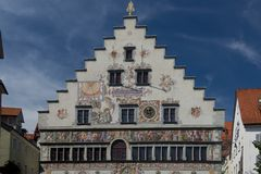 Old Town Hall of Lindau. The facade of the old town hall of Lindau, on the bavarian shore of Constance Lake Royalty Free Stock Photos