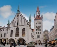 The Old Town Hall located on the Central square of Munich, Germany stock photo