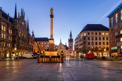 Old Town Hall and Marienplatz in the Morning Stock Image