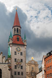 Old town hall at Marienplatz in Munich Germany. View of old town hall at Marienplatz in Munich Germany. The Old Town Hall, until 1874 the domicile of the Stock Photos