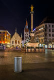 Old Town Hall and Marienplatz in Munich at Night Stock Image