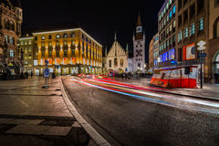 Old Town Hall and Marienplatz in the Night Royalty Free Stock Images