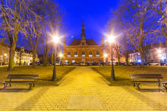 Old town hall at night in the park of Gdansk Stock Images