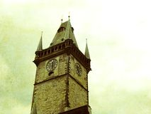 Old Town Hall in Prague. The effect of an old photo royalty free stock image