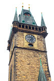 Old Town Hall in Prague on white isolated background Stock Photos