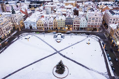 Old Town Hall on Republic Square in Pilsen - aerial view Royalty Free Stock Image
